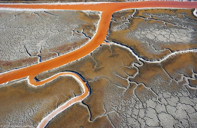 """San Francisco Bay salt flats"" by Michael Layefski - beautiful aerial kite photography"