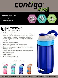 (4 winners) WIN a Contigo AUTOSEAL Gizmo Sip Kids 14oz Water Bottle.