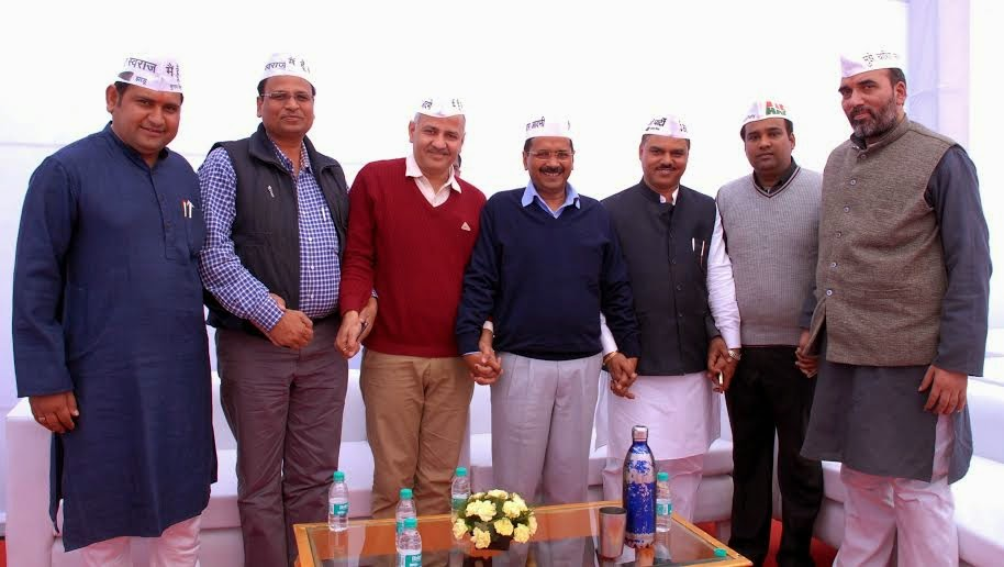 Arvind Kejriwal with his council of Ministers