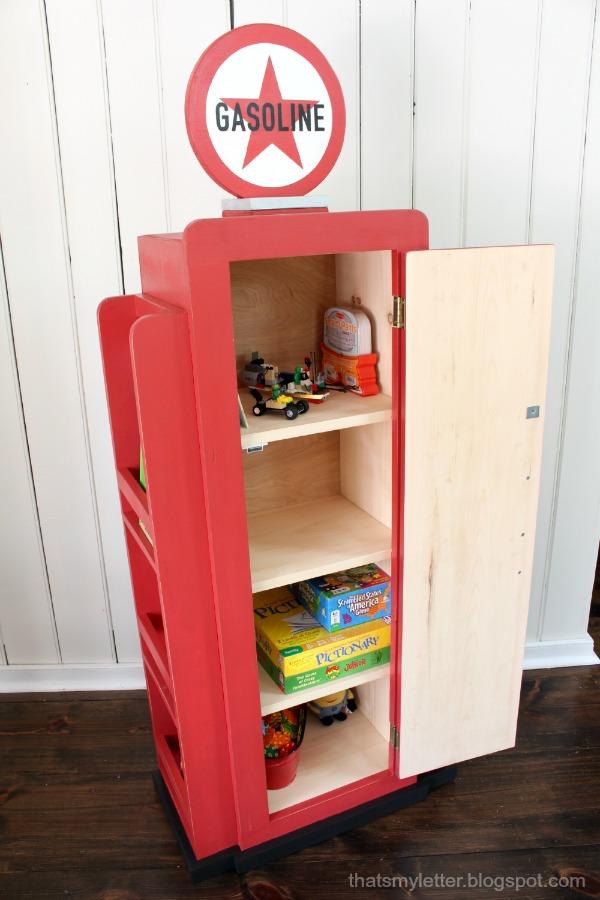 that 39 s my letter diy gas pump bookshelf. Black Bedroom Furniture Sets. Home Design Ideas