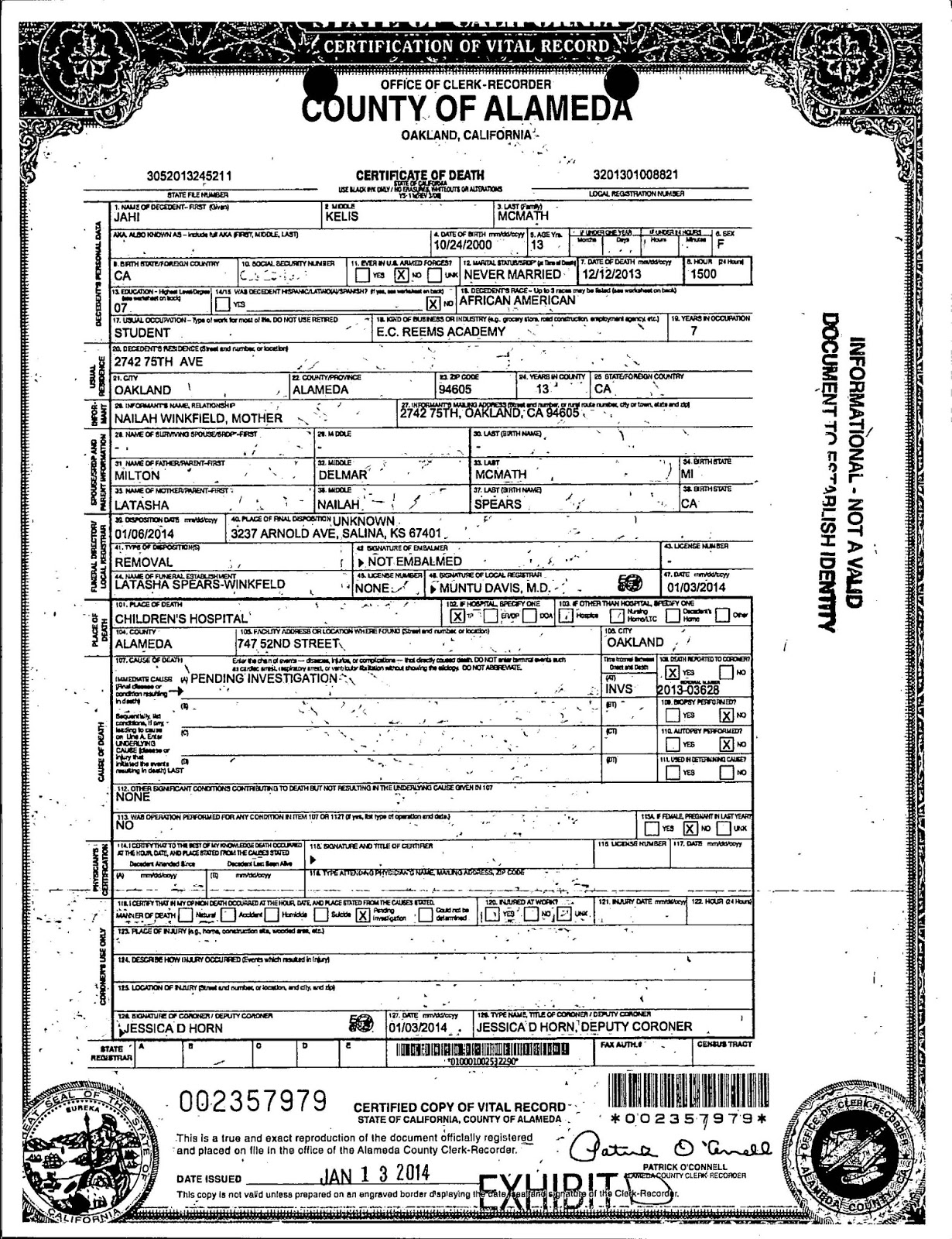 Fresh image of tennessee birth certificate business cards and resume jahi mcmath re litigating the determination of aiddatafo Images