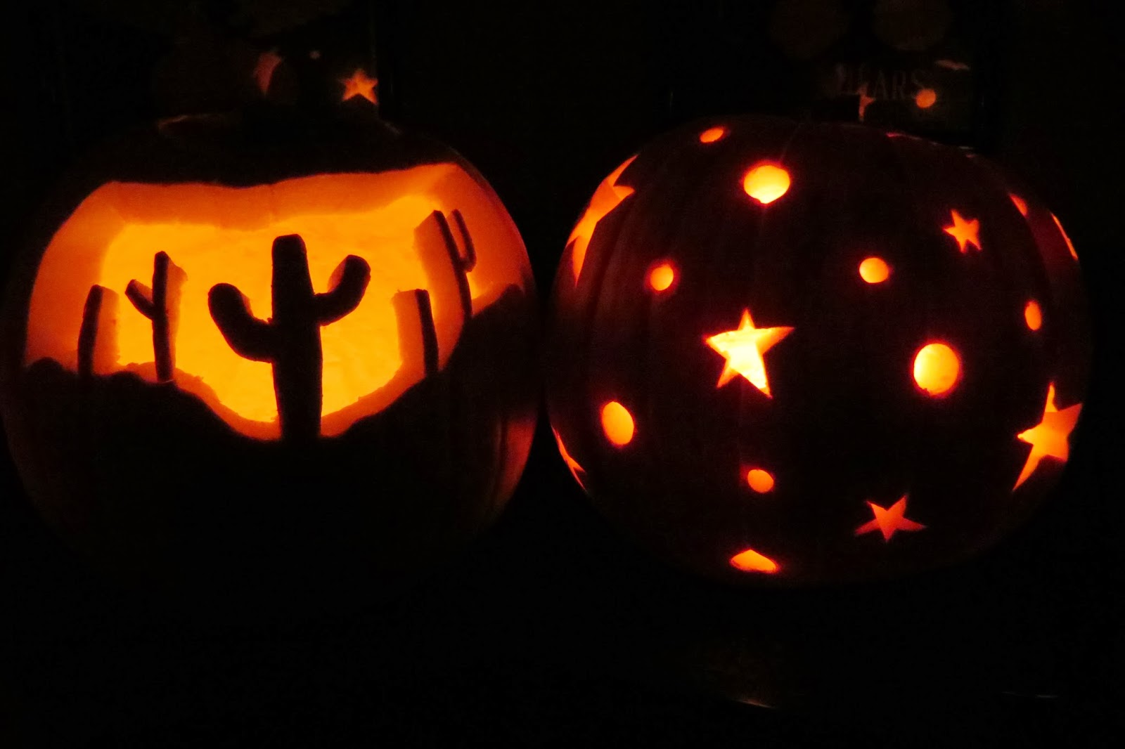 Cactus Carved Pumpkin, Star Wraparound Carved Pumpkin