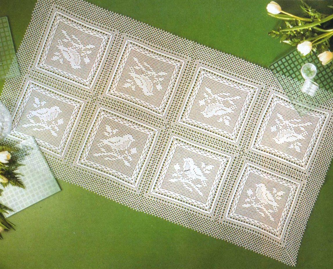 Квадратные скатерти филейным вязанием