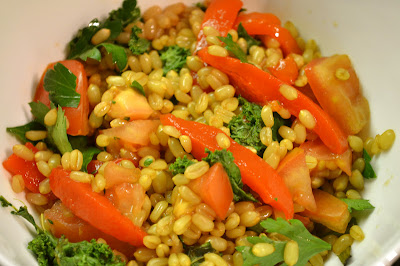 Kale and Roasted Pepper Wheat Berry Salad