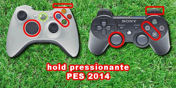 Comando Xbox 360 e comando Playstation 3 - Hold pressionante PES 2014