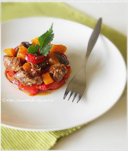 spezzatino con aceto balsamico e peperoni