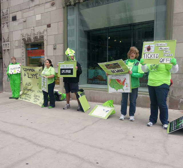 Lots of Lyme Awareness Signs in Chicago