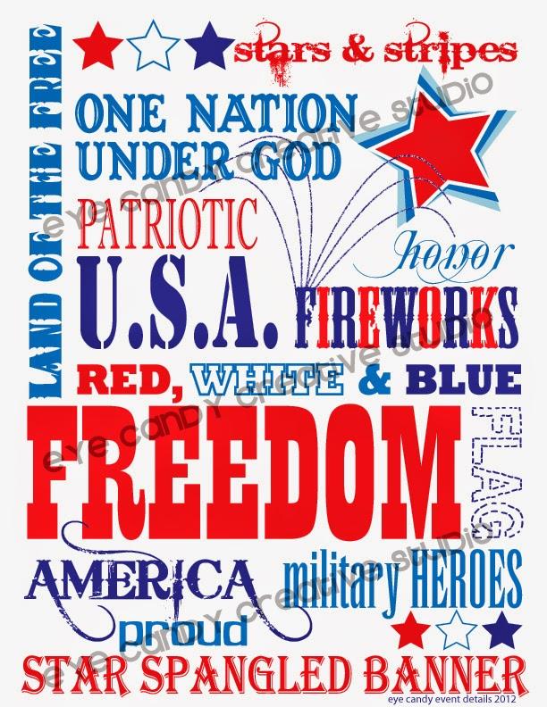 FREE memorial day subway art, 4th of july subway art, USA, freedom