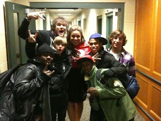 Justin Bieber with friends in hotel