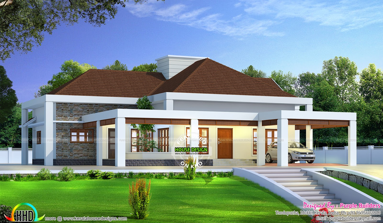 Stunning single floor house above road level kerala home for One level house exterior design