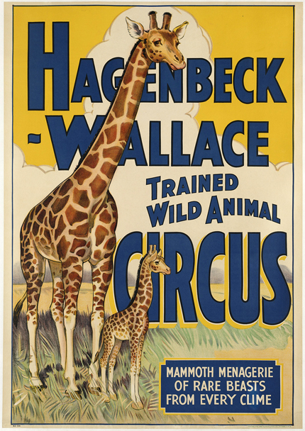 animal poster, circus, classic posters, free download, free printable, graphic design, printables, retro prints, vintage, vintage posters, vintage printables, wildlife, Hagenbeck Wallace Trained Wild Animal Circus - Vintage Animal Giraffe Circus Printable Poster