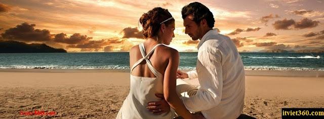Ảnh bìa lãng mạn cho Facebook - Cover FB romantic timeline, cát trắng biển xanh nói lên tình anh