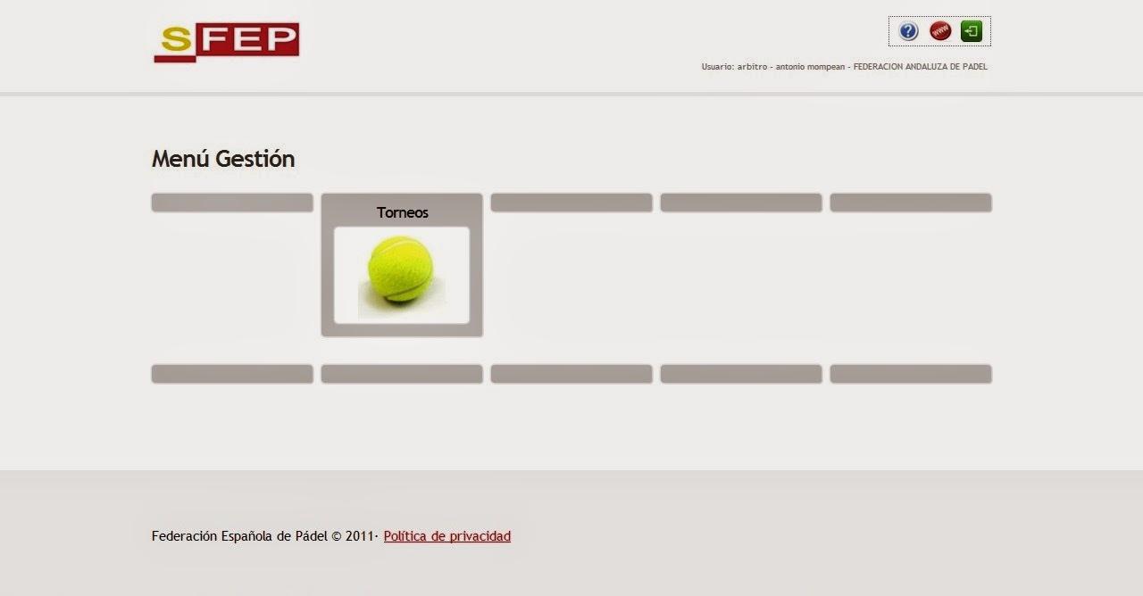 Captura de pantalla mostrando el Menú Gestión del Sistema de Gestión de la FEP.
