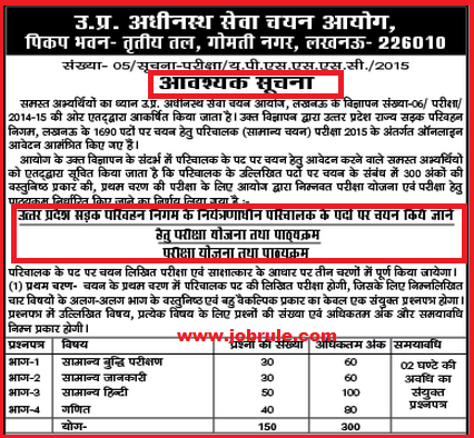UPSSSC State Transport Corporation Conductor Recruitment 2015 Examination pattern & Syllabus