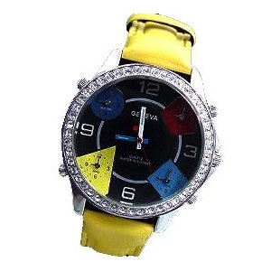 World Time Zone Leather Bling HIP HOP Fashion Watch, Yellow