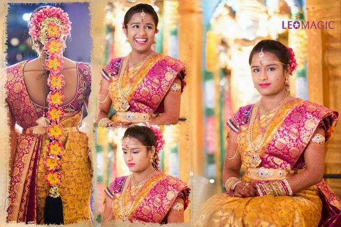 Bride in Mustard Floral Silk Saree