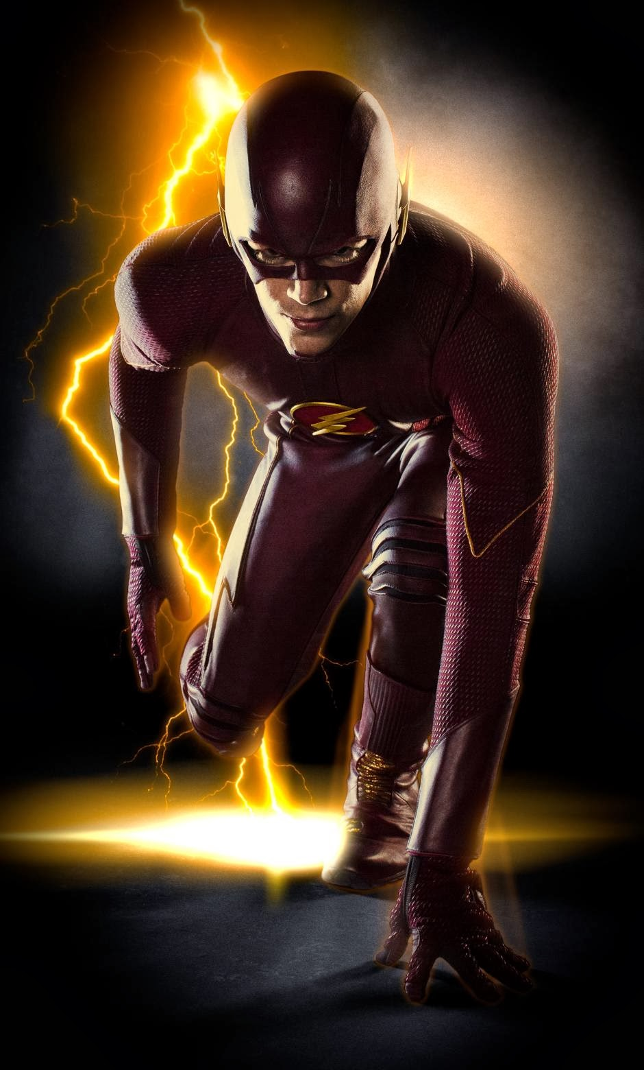 Primera imagend e Grant Gustin con el traje de The Flash