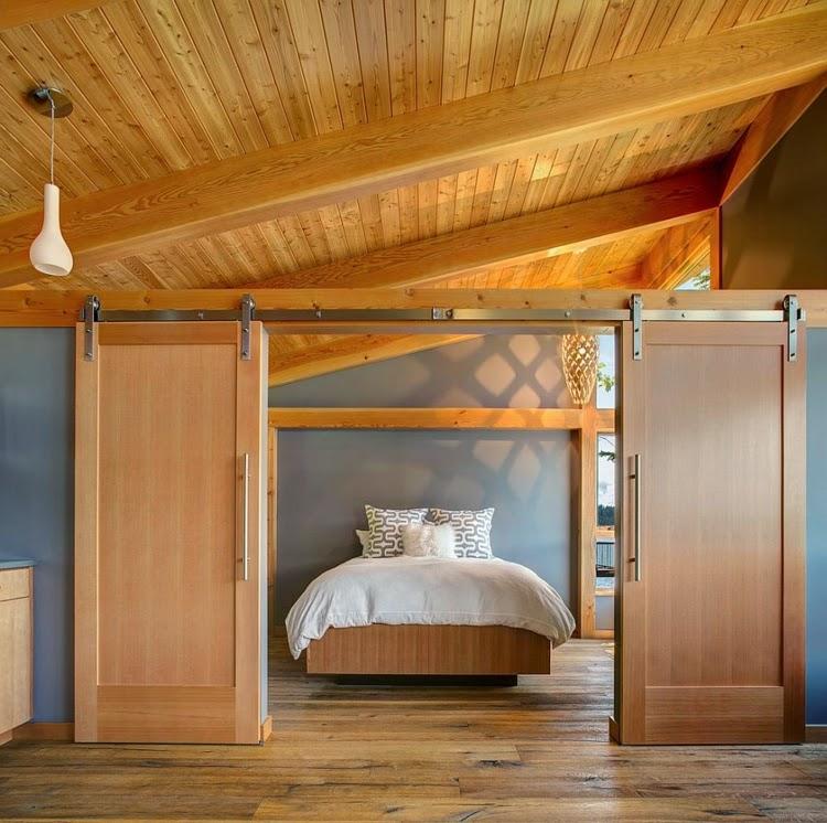 Barn door in the bedroom for a rustic ambience   Bedroom Design