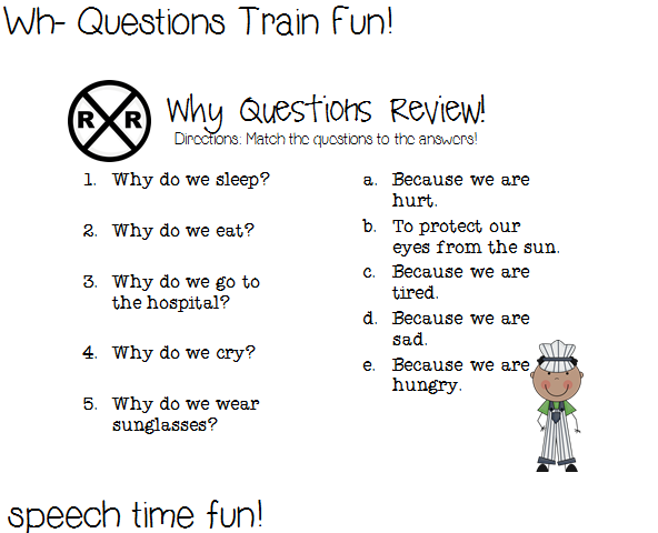 {Wh Questions Train Fun and giveaway – Why Questions Worksheet