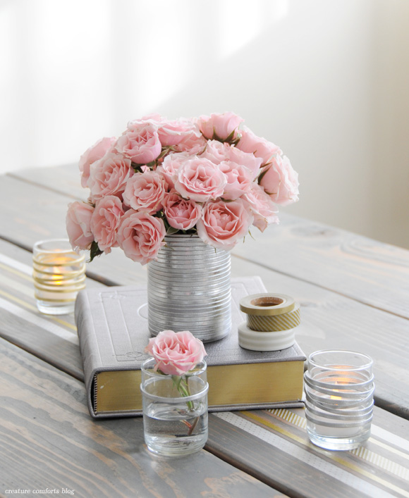 DIY project - leather wrap vases and votives