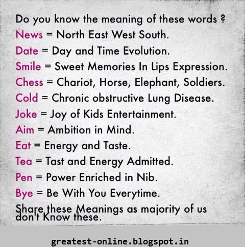 Do You Know The Meaning Of These Words ? News, Date, Aim, Smile, Chess, Joke, Eat, Tea, Cold, Pen, Bye