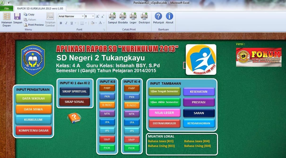 Raport Kurikulum 2013 Sd Mi Sdn 2 Tukangkayu Banyuwangi