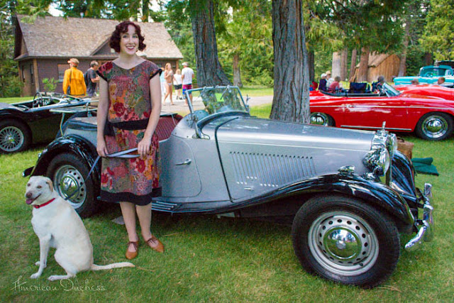 1920s gatsby dress MG TD roadster Lake Tahoe Sugarpine event