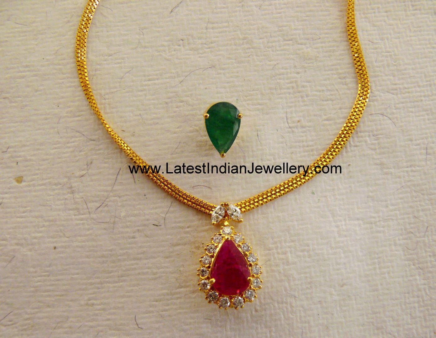 Simple Elegant Necklace with Interchangeable Gemstone Pendant