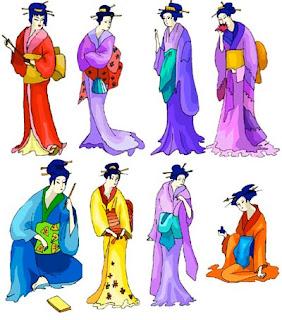 Клипарт из рисованных и контурных фигурок японок