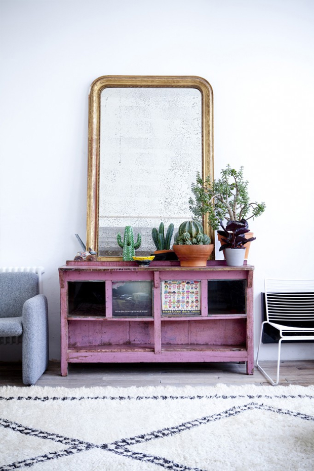pink sideboard with cacti