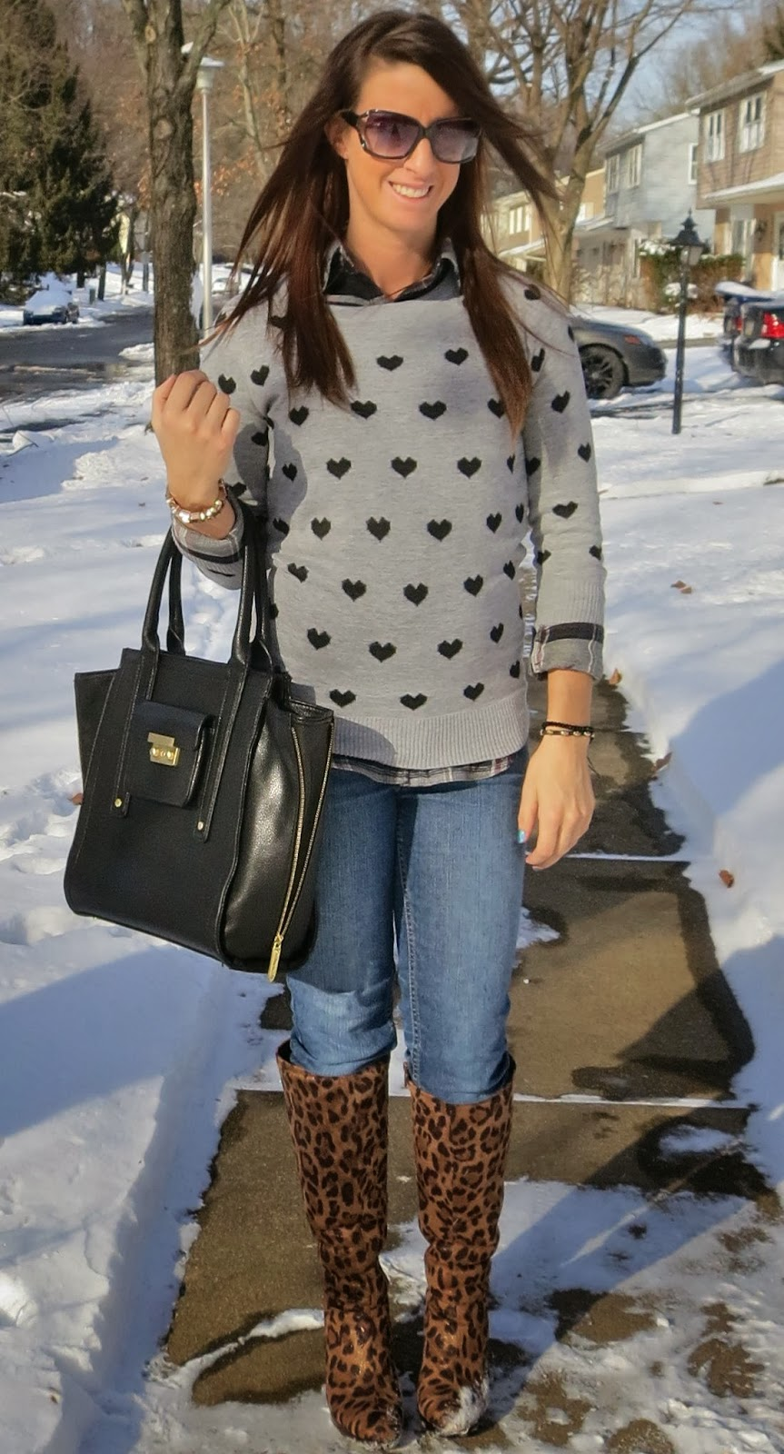 Boots, Fashion, flannel, hearts, kate spade, layering, layers, leopard boots, leopard print, ootd, Outfit Ideas, outfit of the day, Outfits, phillip lim for target, sweaters, what i wore, winter fashion,