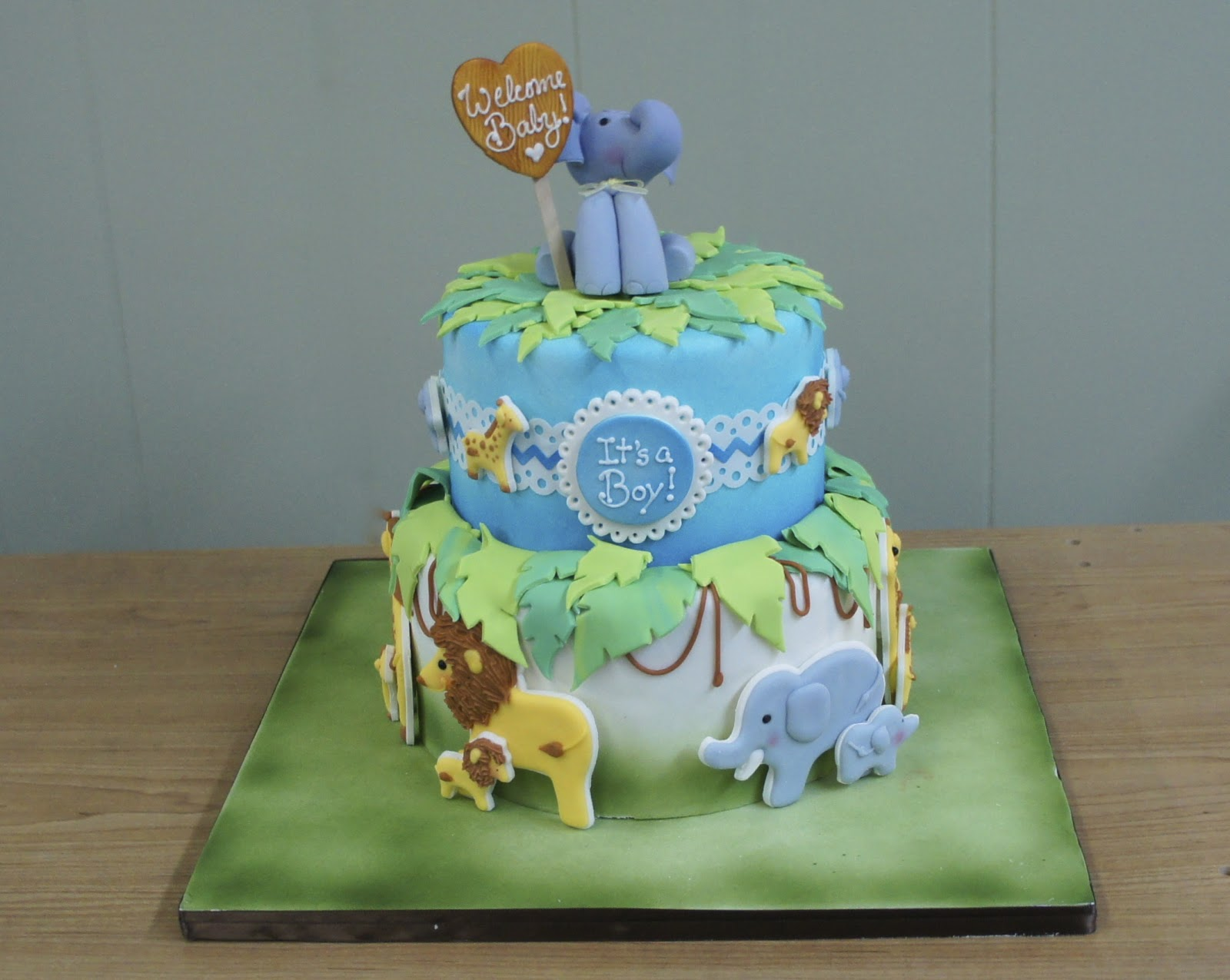 Baby Safari Cake And Elephant Topper Montreal Confections