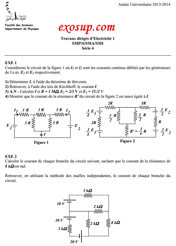 td électricité 1 ibn tofail:série n°4+solution