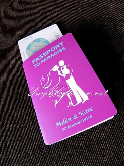 passport, wedding card, invitation, purple theme, turquoise, colour, couple, singapore, johor bahru, australia, sydney, melbourne, kuala lumpur, selangor, penang, perak, ipoh, melaka, pahang, canada, america, USA, ontario, perth, brisbane, adelaide, kuantan, bentong, muar, kedah, kelantan, modern, special, unique, one fold card, art card 260g, matt lamination, boarding pass card, globe, around the world, printing, bespoke, custom made, design, handmade, hand crafted, cetak, kad kahwin, personalised, personalized