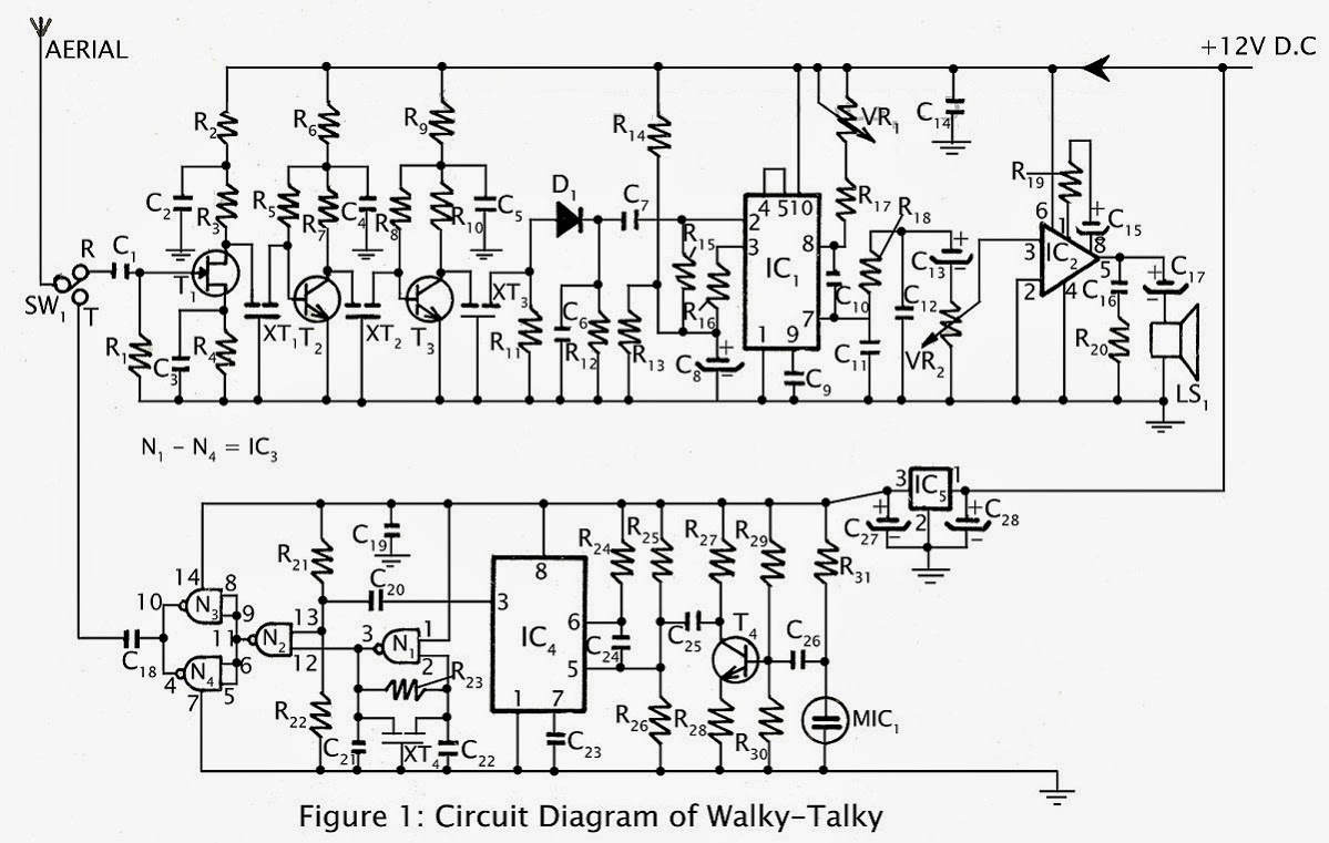 Walky Talky Switched Wiring Circuit Figure 1 Schematics Diagram