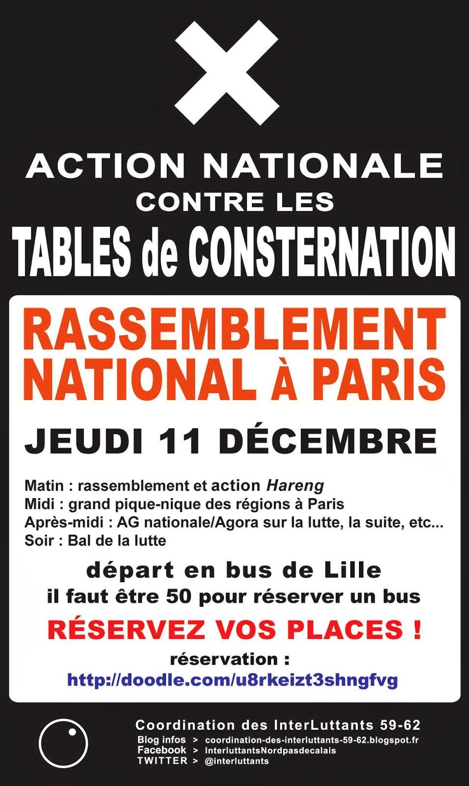 ACTION NATIONALE - RASSEMBLEMENT À PARIS Jeudi 11 décembre départ le matin et retour le soir déroulement de la journée matin : rassemblement et action Hareng midi : grand pique-nique des région après-midi : AG nationale/Agora sur la lutte, la suite, etc… soir : bal de la lutte !! Soyons nombreux, en force et déterminés !! Inscrivez-vous sur http://doodle.com/u8rkeizt3shngfvg pour participer à cette journée importante, on nous attend !! plus d'infos coordination-des-interluttants-59-62.blogspot.fr depuis février, toujours debout, on lâche rien ! action décidée lors de la Coordination Nationale à Toulouse