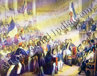 The Revolution in France, The wave of popular revolutions that spread across Europe during 1848 started in Paris where people took to the streets in a show of defiance. On 24 February, King Louis Philippe abdicated and nominated his 10 year-old grandson Louis Philippe Albert as his heir. But on the same day, revolutionaries invaded the Chamber of Deputies the invasion is shown in this engraving. The rebels swept aside the claims of the 'boy king', and proclaimed a republic.