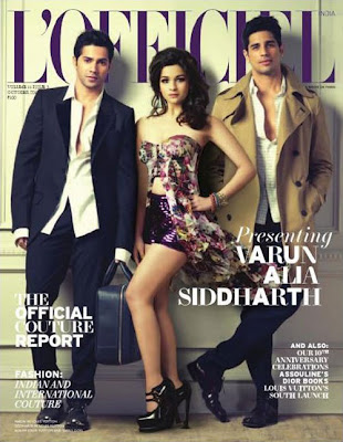 Alia, Siddharth, Varun on L'Officiel