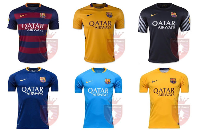 Jersey Barcelona Home, Away, Third/3rd, Training Kit 2015-2016