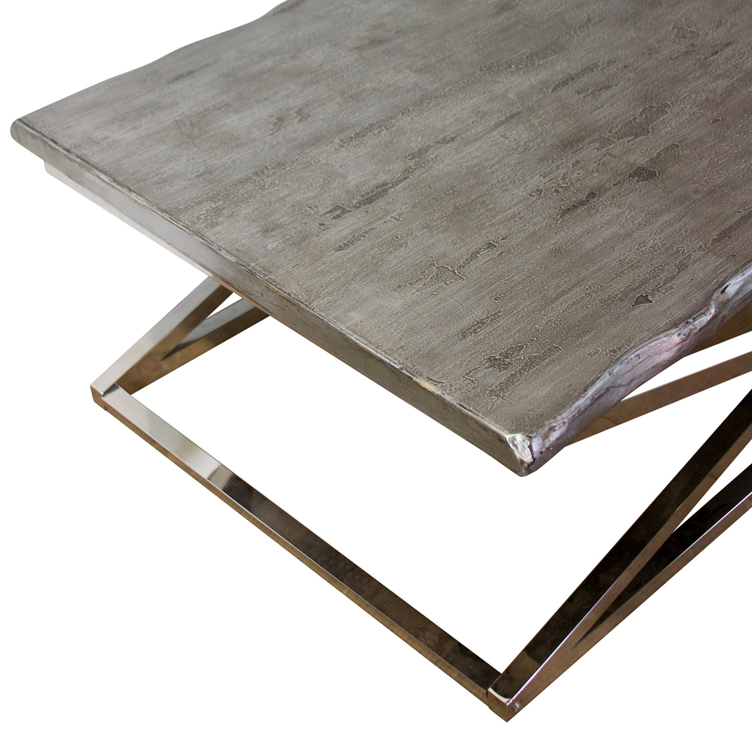Voltin Live Edge Coffee Table with Chrome legs
