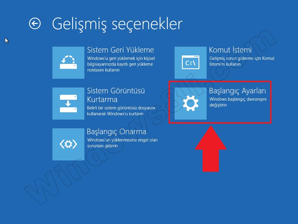 Windows 8 Başlangıç Ayarı Güvenli Mod