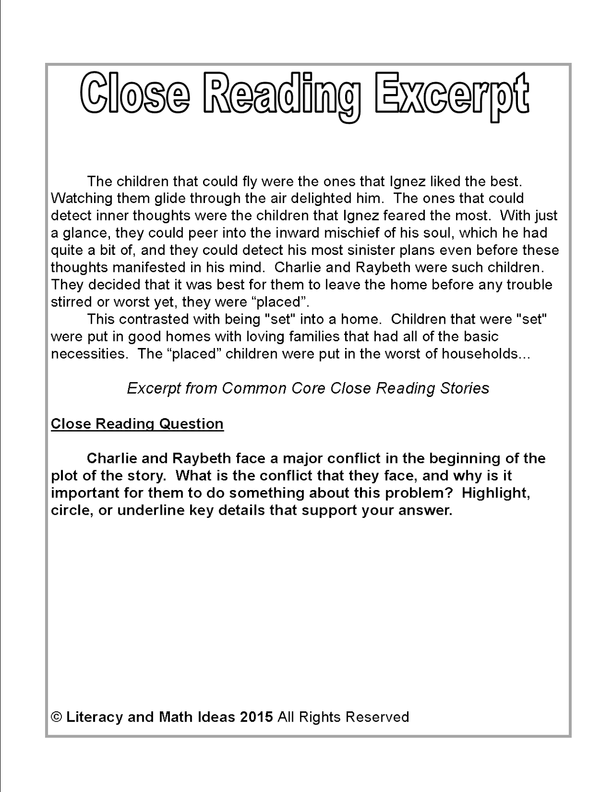 Worksheet Reading Stories For 4th Graders literacy math ideas free close reading passage of the week click here to access common core stories