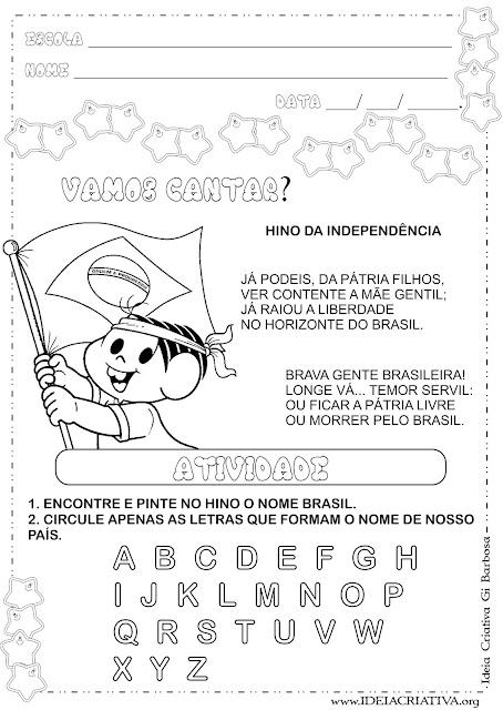 Atividade 7 de Setembro Independência do Brasil Educação Infantil