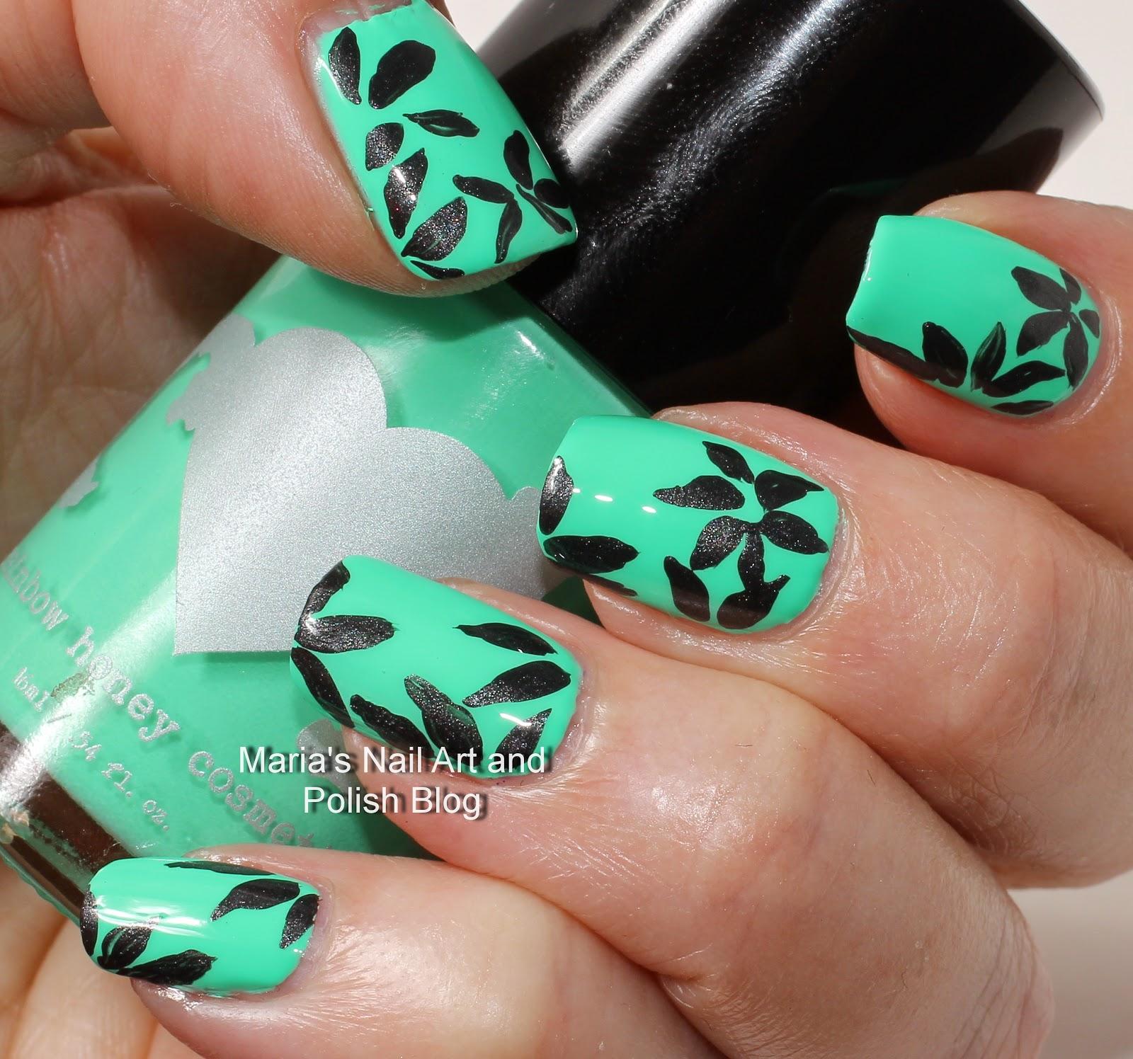 Marias nail art and polish blog floral petal nail art in black i love that green polish prinsesfo Choice Image