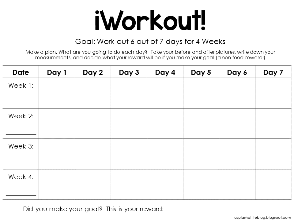 A Splash of Life: iWorkout and Measurements Printables