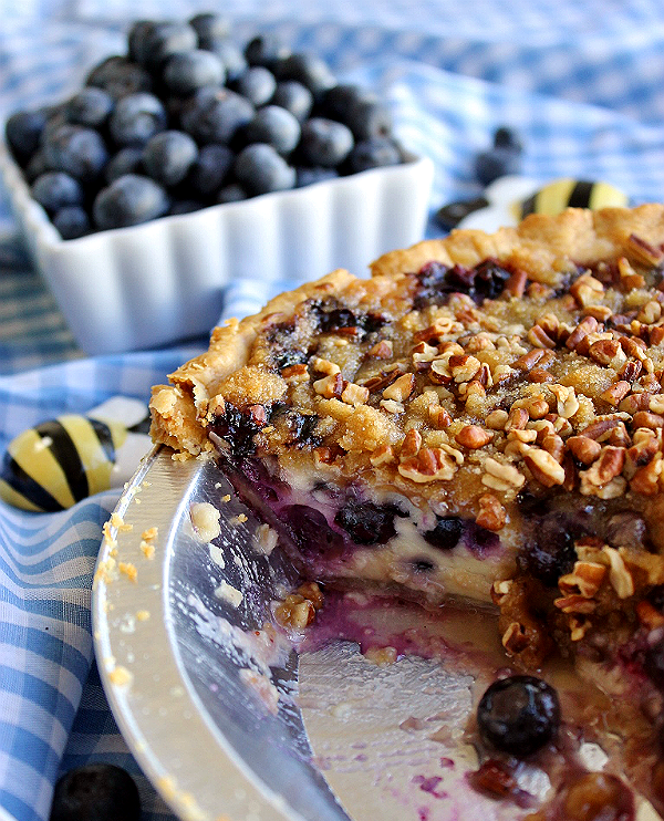 Blueberry Custard Pie with Pecans and Crumb Topping Recipe l Homemade Recipes http://homemaderecipes.com/holiday-event/24-recipes-for-blueberry-pie-day
