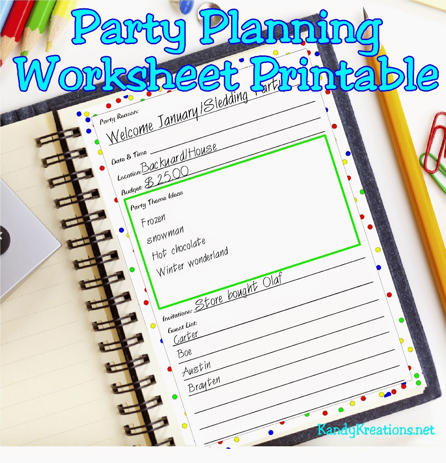Plan the perfect party with this party planning worksheet.  Set is designed to fit in an A5 binder and has four pages to help you plan the perfect party.  You'll have plenty of room to brainstorm and make your next party fun and exciting.