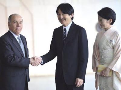O ministro das Relações Exteriores, Mauro Vieira, recebe no Palácio Itamaraty o príncipe Akishino e a princesa Kiko