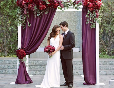 plum wedding backdrop
