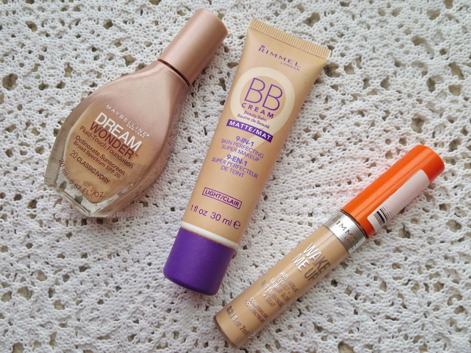 a picture of the best affordable foundations and concealers ; Maybelline Dream Wonder Foundation, Rimmel BB Cream Matte, Rimmel Wake Me Up Concealer